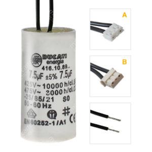 Condensateur 7,5uF / 7,5µF moteur volet Bubendorff avec connecteur