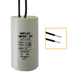 Condensateur 6uF/6µF (compatible 6,5uF) permanent pour moteur, avec fils étamés