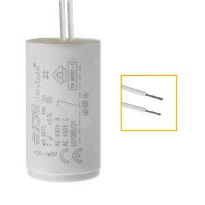 Condensateur 7uF/7µF ICAR Ecofill WB 4070 permanent pour moteur, avec fils étamés