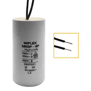 Condensateur 10uF (µF) démarrage / permanent pour moteur, avec fils étamés