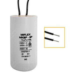 Condensateur 12uF (µF) démarrage / permanent pour moteur, avec fils étamés
