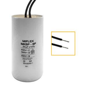 Condensateur 20uF (µF) démarrage / permanent pour moteur, avec fils étamés