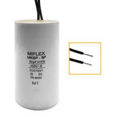 Condensateur 30uF (µF) démarrage / permanent pour moteur, avec fils étamés