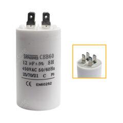 Condensateur 12uF (µF) démarrage / permanent pour moteur – Cosses Faston 6,3mm