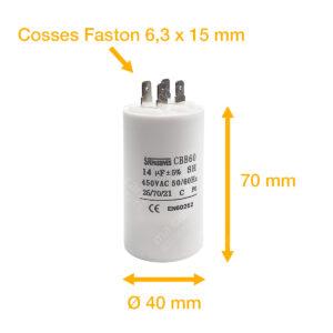 Condensateur 14uF (µF) démarrage / permanent pour moteur – Cosses Faston 6,3mm