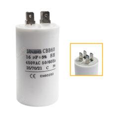 Condensateur 16uF (µF) démarrage / permanent pour moteur – Cosses Faston 6,3mm
