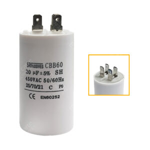 Condensateur 20uF (µF) démarrage / permanent pour moteur – Cosses Faston 6,3mm