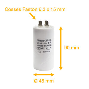 Condensateur 30uF (µF) démarrage / permanent pour moteur – Cosses Faston 6,3mm