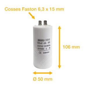 Condensateur 50uF (µF) démarrage / permanent pour moteur – Cosses Faston 6,3mm