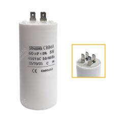 Condensateur 60uF (µF) démarrage / permanent pour moteur – Cosses Faston 6,3mm