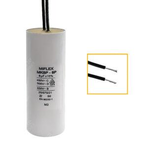 Condensateur 8uF/8µF démarrage / permanent pour moteur, avec fils étamés