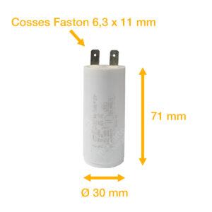 Condensateur 10uF (µF) ICAR Ecofill WB 40100 démarrage / permanent pour moteur – Cosses Faston 6,3mm