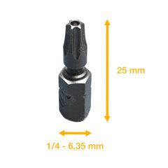 Embout de vissage 1/4″ – Security Torx® T20H – L=25mm