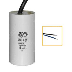 Condensateur 16uF (µF) démarrage / permanent pour moteur, avec fils étamés