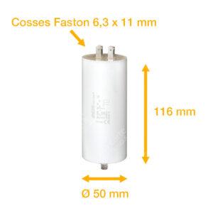 Condensateur 70uF (µF) ICAR Ecofill WB 40700 démarrage / permanent pour moteur – Cosses Faston 6,3mm