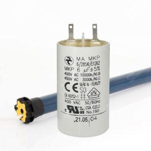 Condensateur 6uF/6µF pour moteur de volet / store SOMFY et SIMU – Cosses Faston 2,8mm