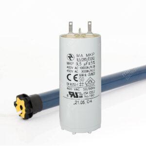 Condensateur 9,5uF (compatible 9µF) pour moteur de volet / store SOMFY et SIMU – Cosses Faston 2,8mm