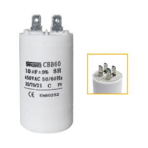 Condensateur 10uF (µF) démarrage / permanent pour moteur – Cosses Faston 6,3mm
